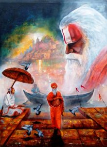 Banarash Ghat 3 | Painting by artist Arjun Das | Acrylic | canvas