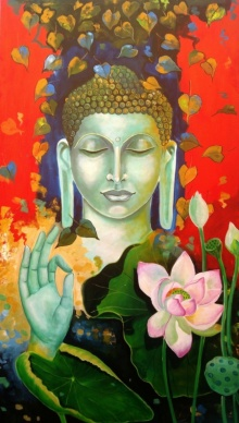 Arjun Das | Acrylic Painting title Blessing Buddha on Canvas | Artist Arjun Das Gallery | ArtZolo.com
