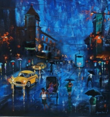 Arjun Das Paintings | Acrylic Painting - Blue Sky Rainy Day by artist Arjun Das | ArtZolo.com