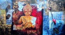 Arjun Das | Acrylic Painting title Buddha on Canvas Board | Artist Arjun Das Gallery | ArtZolo.com