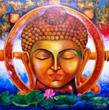 Religious Acrylic Art Painting title Buddha by artist Arjun Das