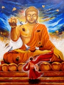 contemporary Acrylic Art Painting title Buddha 4 by artist Arjun Das