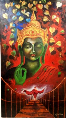 Arjun Das Paintings | Acrylic Painting - Buddha And Monk 8 by artist Arjun Das | ArtZolo.com