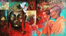 Religious Acrylic Art Painting title 'Buddha And Monk 9' by artist Arjun Das