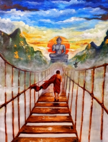 Religious Acrylic Art Painting title Buddha And Monk Child by artist Arjun Das