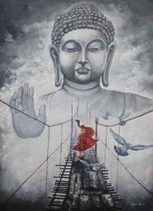 Religious Acrylic Art Painting title 'Buddha And Monk Child 11' by artist Arjun Das
