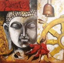 Religious Acrylic Art Painting title 'Buddha And Monk Child 12' by artist Arjun Das