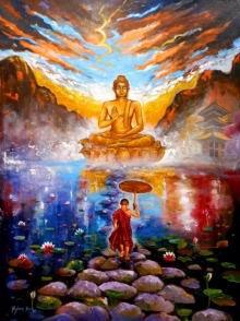 contemporary Acrylic Art Painting title Buddha And Monk Child 1 by artist Arjun Das
