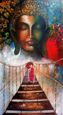 Realistic Acrylic Art Painting title 'Buddha And Monk Child 3' by artist Arjun Das