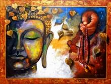 Religious Acrylic Art Painting title Buudha 5 by artist Arjun Das
