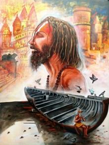 Religious Acrylic Art Painting title 'Devotion Of Banaras Ghat' by artist Arjun Das