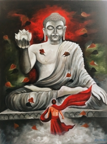 Arjun Das | Acrylic Painting title Devotion Of Buddha on Canvas | Artist Arjun Das Gallery | ArtZolo.com
