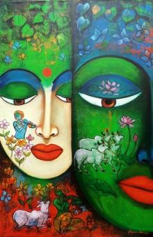 Religious Acrylic Art Painting title 'Devotion Of Krishna 4' by artist Arjun Das