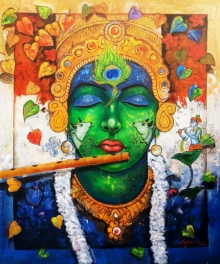 Religious Acrylic Art Painting title 'Devotion Of Tune' by artist Arjun Das