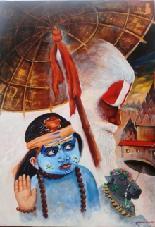 Religious Acrylic Art Painting title 'Devotion Of Varanasi' by artist Arjun Das