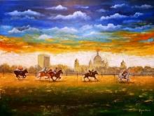 contemporary Acrylic Art Painting title Horse Riding of kolkata by artist Arjun Das
