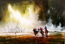 Cityscape Acrylic Art Painting title Kolkata Horse Rider In Rainyday by artist Arjun Das