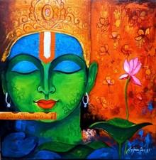 contemporary Acrylic Art Painting title Krishna 1 by artist Arjun Das