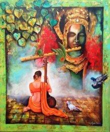 Arjun Das | Acrylic Painting title Krishna Sang Meera on Canvas | Artist Arjun Das Gallery | ArtZolo.com