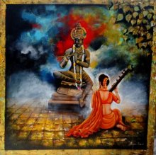 Religious Acrylic Art Painting title 'Krishna Sang Meera 2' by artist Arjun Das