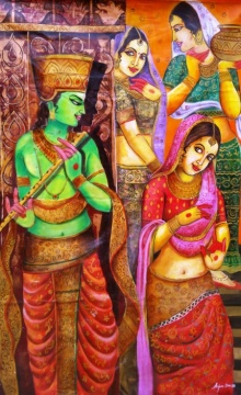 Krishna With Gopi | Painting by artist Arjun Das | acrylic | canvas