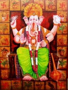 Religious Acrylic Art Painting title 'Laalbagcha Raja' by artist Arjun Das