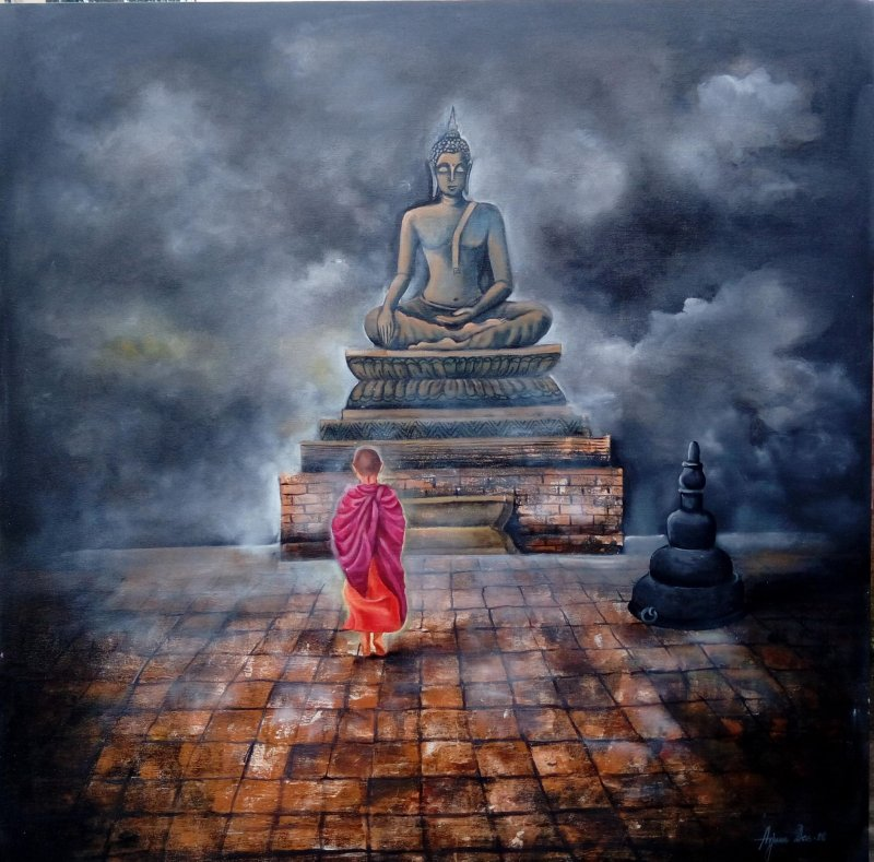 Monk Child And Buddha By Artist Arjun Das