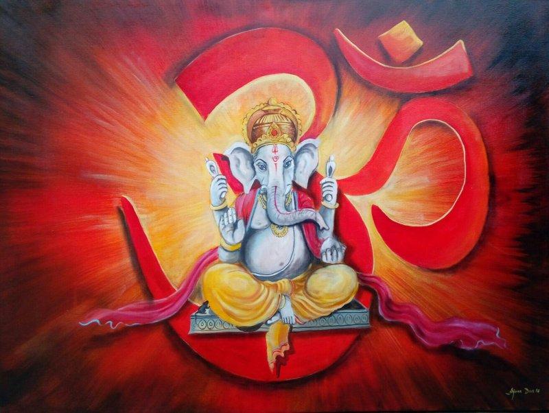 Om Ganesha By Artist Arjun Das Religious Art Acrylic