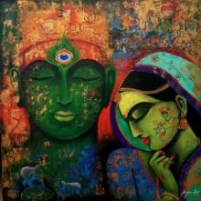 Religious Acrylic Art Painting title Love Saga by artist Arjun Das