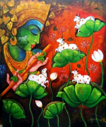 Religious Acrylic Art Painting title Loving Tune by artist Arjun Das