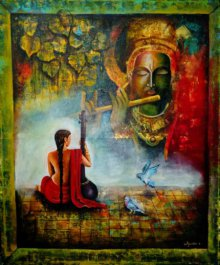 Meera And Krishna | Painting by artist Arjun Das | acrylic | Canvas