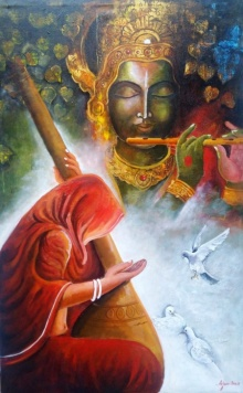 Arjun Das | Acrylic Painting title Meera Ke Krishna on Canvas | Artist Arjun Das Gallery | ArtZolo.com