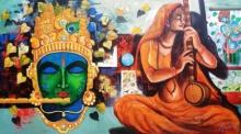 Religious Acrylic Art Painting title 'Meera Ke Krishna 10' by artist Arjun Das