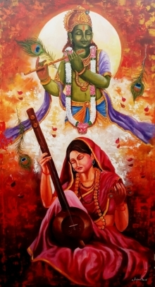 Arjun Das Paintings | Acrylic Painting - Meera Ke Krishna 7 by artist Arjun Das | ArtZolo.com