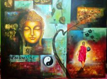 Monk Of Buddhism 54 X 42 Inch | Painting by artist Arjun Das Of Buddha | acrylic | Canvas