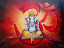 Arjun Das | Acrylic Painting title Om Ganesha on Canvas | Artist Arjun Das Gallery | ArtZolo.com