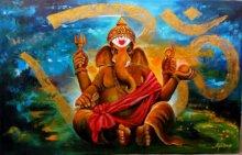 Arjun Das | Acrylic Painting title Om Ganesha 2 on Canvas | Artist Arjun Das Gallery | ArtZolo.com
