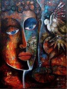 Arjun Das | Acrylic Painting title Peaceful Buddha 1 on Canvas Board | Artist Arjun Das Gallery | ArtZolo.com