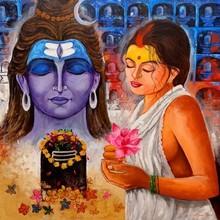 Religious Acrylic Art Painting title Pujarin Of Shiva by artist Arjun Das