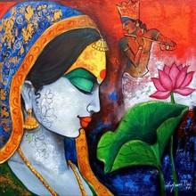 Religious Acrylic Art Painting title Radhe by artist Arjun Das