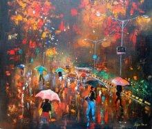 Arjun Das | Acrylic Painting title Rainy Day on Canvas | Artist Arjun Das Gallery | ArtZolo.com