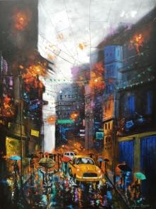 Cityscape Acrylic Art Painting title 'Rainy Day' by artist Arjun Das