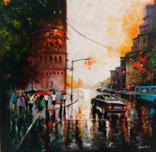 Cityscape Acrylic Art Painting title 'Rainy Day 10' by artist Arjun Das