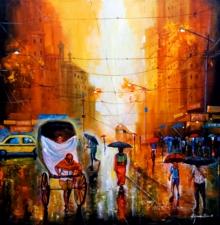 Cityscape Acrylic Art Painting title Rainy Day 2 by artist Arjun Das