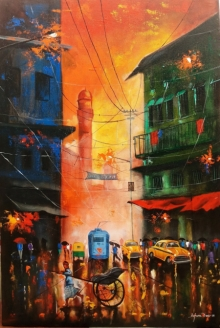 Cityscape Acrylic Art Painting title 'Rainy Day 9' by artist Arjun Das