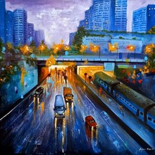 Cityscape Acrylic Art Painting title Rainy Day In City by artist Arjun Das