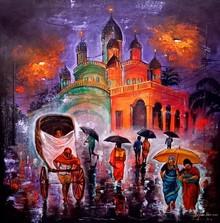 Cityscape Acrylic Art Painting title Rainy Day In Kolkata 14 by artist Arjun Das