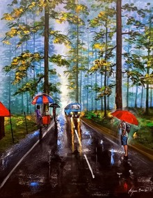 Landscape Acrylic Art Painting title Rainy Day In Uttrakhand by artist Arjun Das
