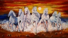 Animals Acrylic Art Painting title 'Running White Horses' by artist Arjun Das