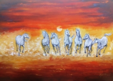 contemporary Acrylic Art Painting title 'Seven Horse' by artist Arjun Das